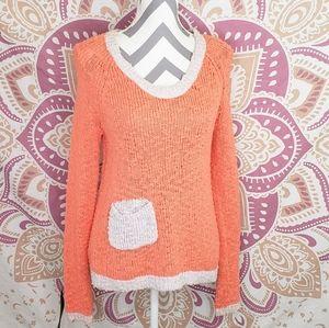 Anthropologie • Pointelle Orange & Lace Sweater